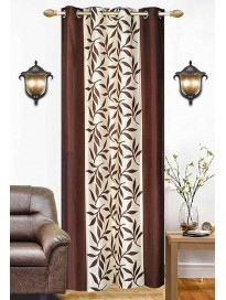 Single Curtain For Door (Floral, Coffee)