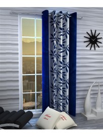 Single Curtain For Door & Window (Floral, Blue)