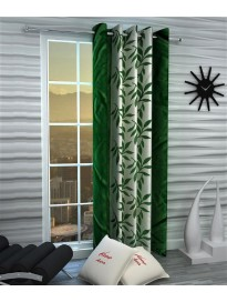 Single Curtain For Door & Window (Floral, Green)