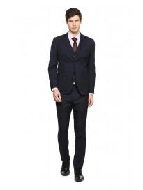 Men's Textured Regular Fit Three Piece Suit