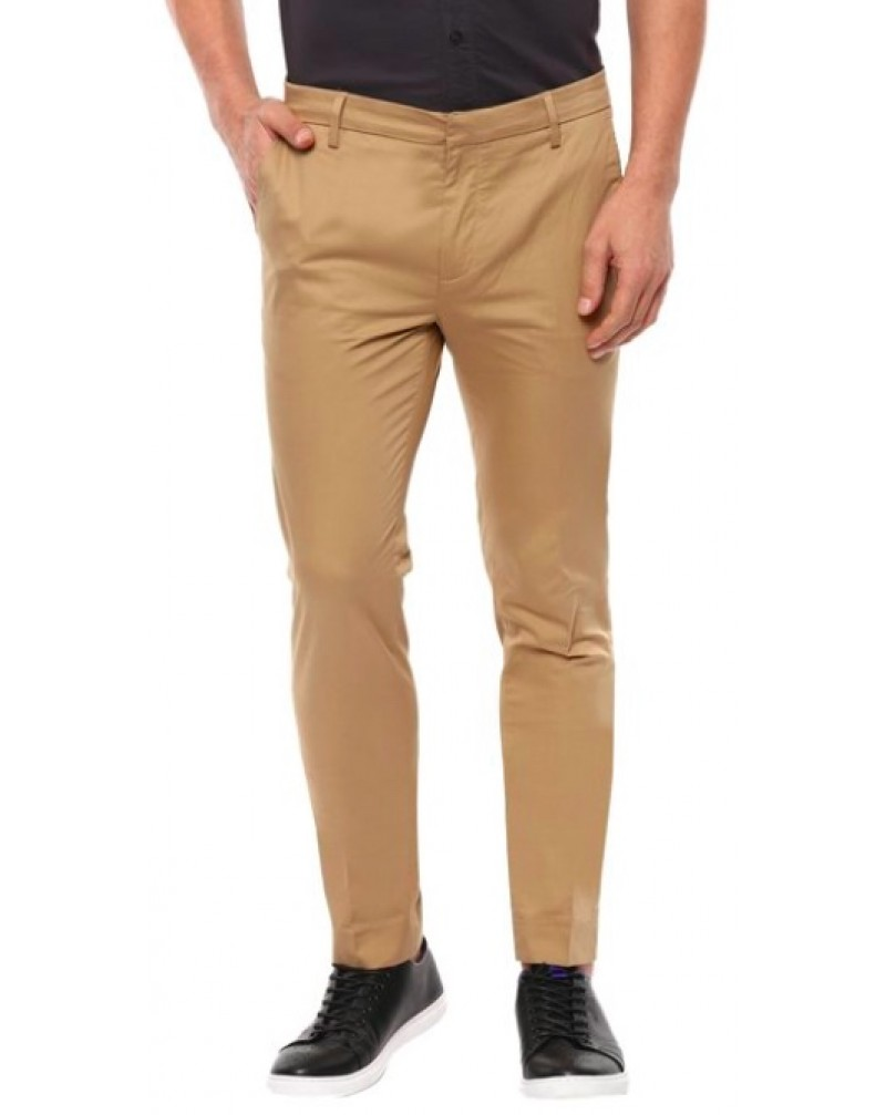 Men's Solid Mid Rise Casual Trousers