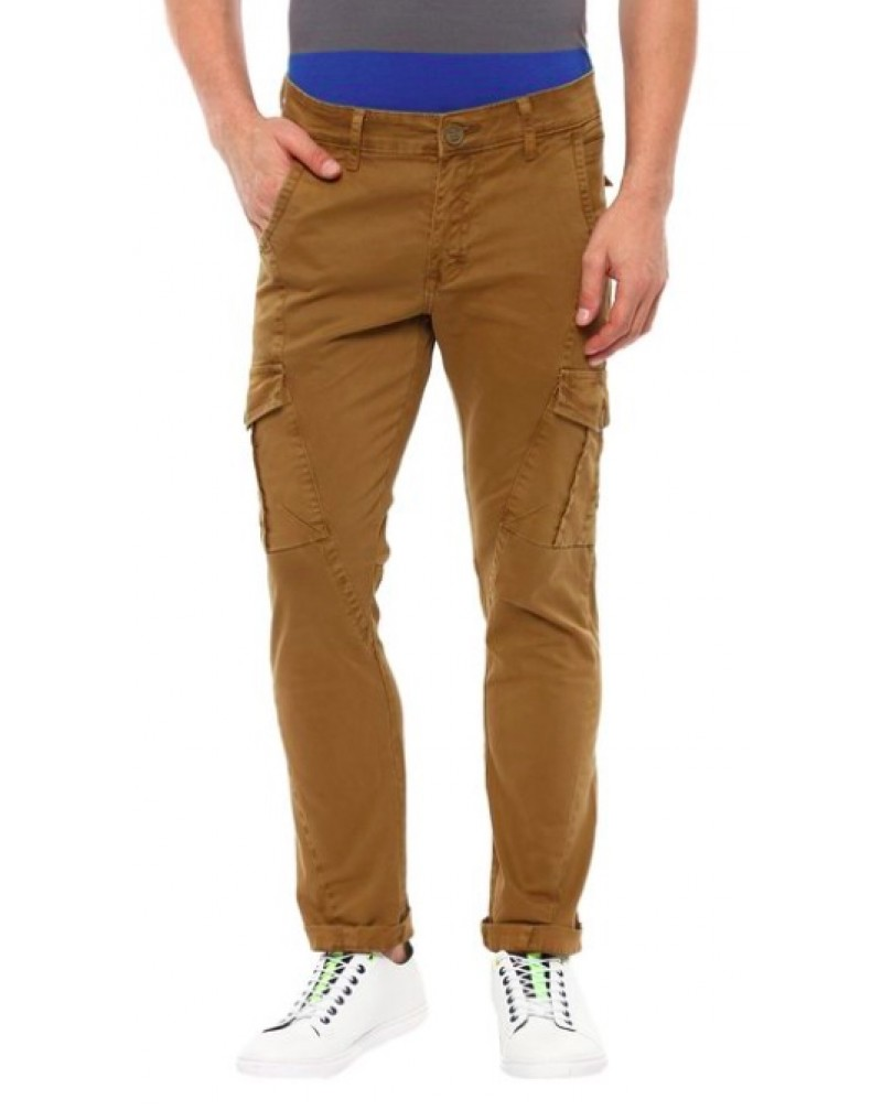 Men's Solid Slim Fit Casual Trousers