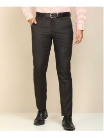 PETER ENGLAND  Slim Fit Men Brown Polyester Viscose Blend Trousers