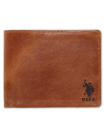 US POLO ASSN. Slim Leather Wallet for Men Bi-Fold Closure, Rough Texture (Chocolate Brown)