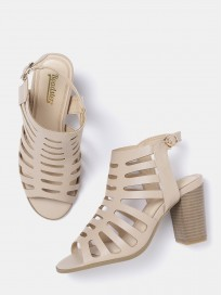 Women's Solid Heels with Cut-Outs