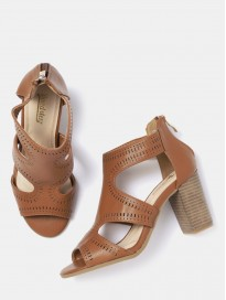 Women's Solid Heels with Laser-Cuts