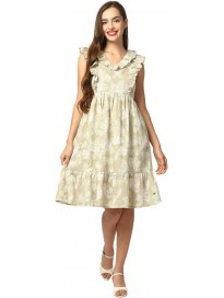 ELLE  Women Fit and Flare Green Dress