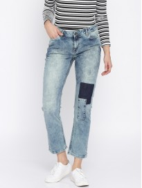 Women's Regular Fit Patch Work Stretchable Jeans