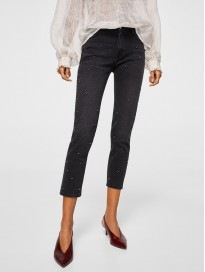 Women's Regular Fit Cropped Studded Jeans