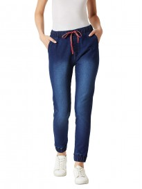 Miss Chase Women's Navy Blue Solid Mid Rise Clean Look Regular Length Stretchable Denim Distressed Jogger Pants