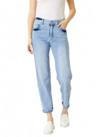 Miss Chase Women's Light Blue Wide-Leg Fit High Rise Clean Look Regular Length Stretchable Denim Jeans