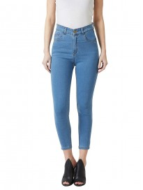 Miss Chase Women's Blue Solid Skinny High Rise Clean Look Cropped Fringe Detailing Solid Stretchable Denim Jeans