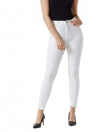Miss Chase Women's White Skinny Fit High Rise Clean Look Cropped Bleached Raw Edge Detailing Stretchable Denim Jeans