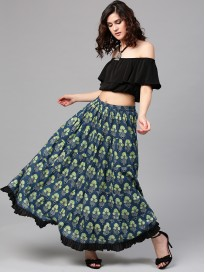 Women's Floral Printed Maxi Skirt
