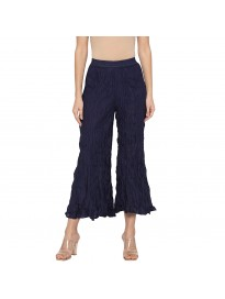 Globus Casual Navy Blue Color Loose Fit Cropped Parallel Trousers