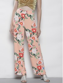 Women's Floral Printed Regular Fit Parallel Trousers