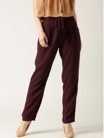 Women's Solid Regular Fit Bootcut Trousers