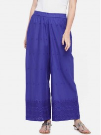 Globus  Tapered Women Blue Cotton Blend Trousers