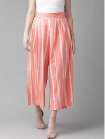 Aks  Flared Women Pink Pure Cotton Trousers