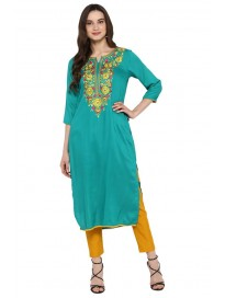 Women's Embroidered Long Kurta with Pant