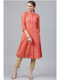 Women's Mandarin Collar Printed Kurta & Pants Set