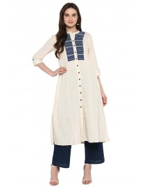 Women's Embroidered A-Line Kurta with Hakoba Pant