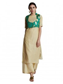 Women's Chanderi Kurta with Palazzo & Brocade Shrug
