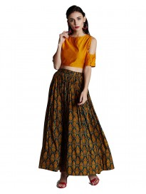 Women's Chanderi Crop Top & Muslin Skirt Set