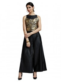 Women's Brocade & Cotton Silk Crop Top & Palazzo Set