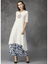 Women's Embroidered kurta & Palazzo Pants Set