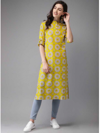 Women Printed Pure Cotton A-line Kurta  (Multicolor)