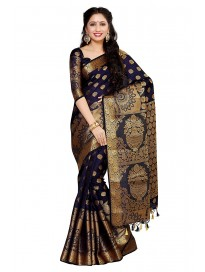 MIMOSA Women's Kanchipuram Silk Saree with Unstitched Blouse Piece (4050-241-SD-NVY_Navy Blue)