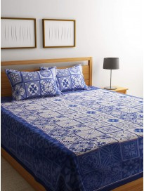 ROMEE 400 TC Queen Size Woven Design 100% Cotton Printed Double Bedsheet with 2 Pillow Covers - Blue