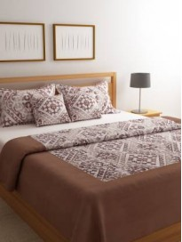 Floral Polycotton Double Bed Cover with 2 Pillow Covers