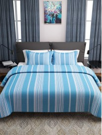 Printed Polycotton Reversible Double Bed Cover with 2 Pillow Covers