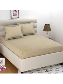 Solid Flat 250 TC Cotton 1 King Bedsheet with 2 Pillow Covers