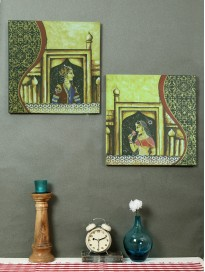 Set of 2 Hand-Painted Royals of Rajasthan Panel Wall Art