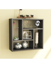 Home Sparkle Square Wall Shelf | Five Section MDF Wall Shelve Display Rack for Home Kitchen Bedroom and Living Room (Black)