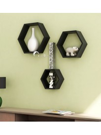 Home Sparkle Hexagonal Wall Shelves Engineered Wood (Black)