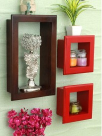 Home Sparkle Wall Mounted Shelf | Wooden Frame Design Wall Shelves for Living Room Bedroom Home Decor – Set of 3 (Brown and Red)