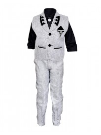 Ahhaaaa Kids Ethnic Cotton Blend Pant Shirt Waistcoat Brooch with Tie for Boys