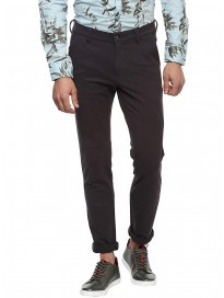 Mufti Mens Grey Slim Fit Mid Rise Trousers