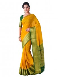 MIMOSA Women's Mysore Silk Crepe Saree With Unstitched Blouse (16_Mustard Yellow)