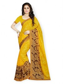 Ishin Faux Georgette Yellow Floral Printed Women's Saree.