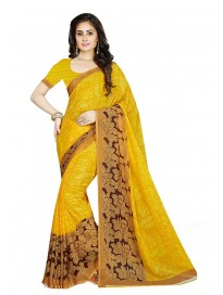 ishin Women's Georgette Saree With Un-stitched Blouse