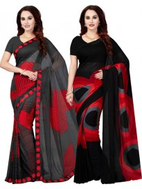 Printed Bollywood Poly Georgette Saree  (Pack of 2, Multicolor)