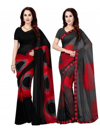 Ishin Combo of 2 Poly Georgette Multicolor Printed Sarees With Blouse Piece