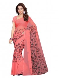 ishin Women's Pure Georgette Saree With Blouse Piece(Peach)