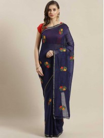 Embroidered Bollywood Polycotton Saree
