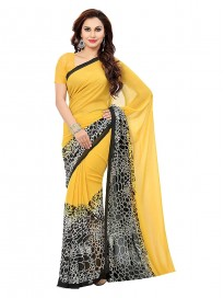 Ishin georgette with Blouse Piece Saree (ReIshinsb-8030_ Yellow_ One Size)